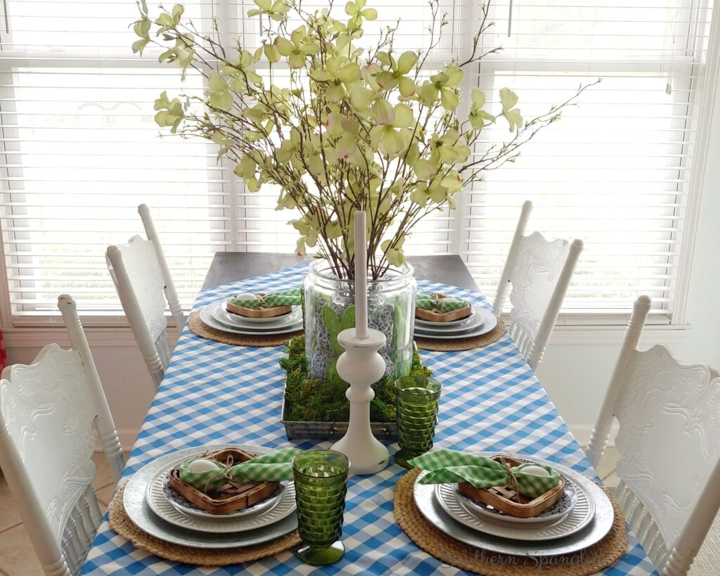 View of the blue and green farmhouse Easter tablescape.
