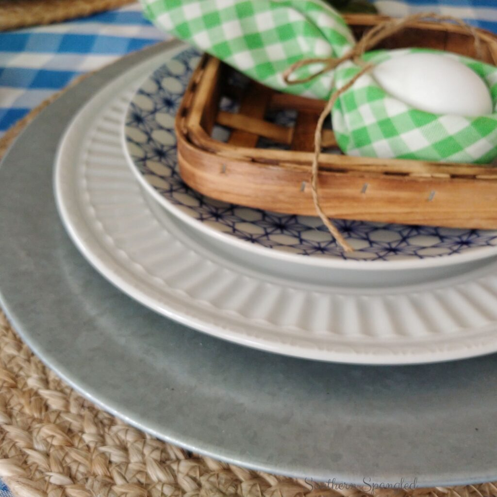 Textures of the blue and green Easter place setting